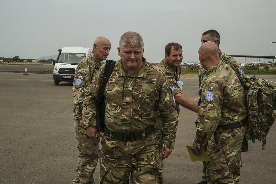 UK Armed Forces personnel arriving in Juba, South Sudan to support UN peacekeeping operations
