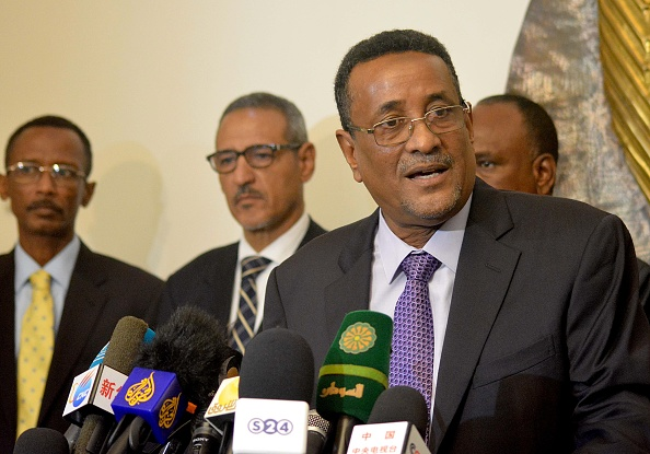 KHARTOUM, SUDAN - AUGUST 15: Sudanese Deputy President Ibrahim Mahmoud Hamad holds a press conference after he returned from Ethiopia at Khartoum International Airport in Khartoum, Sudan on August 15, 2016. (Photo by Mahmoud Hjaj/Anadolu Agency/Getty Images)