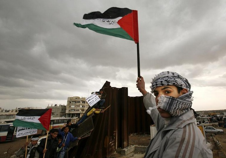 A Palestinian waves a flag near a destroyed section of the border wall between the Gaza Strip and Egypt January 29, 2008. Israel will not stand in the way of Palestinian President Mahmoud Abbas taking control of Gaza's breached border with Egypt as part of a deal to sideline Hamas Islamists who rule the enclave, officials said on Tuesday. REUTERS/Suhaib Salem (GAZA) - RTR1WFK6