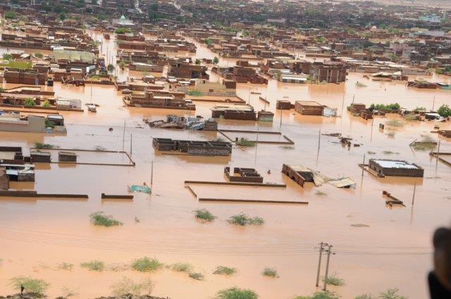 August 2013. Khartoum, Sudan. Flash floods resulting from heavy rains, which continued for days in a row, led to serious damages in several states.