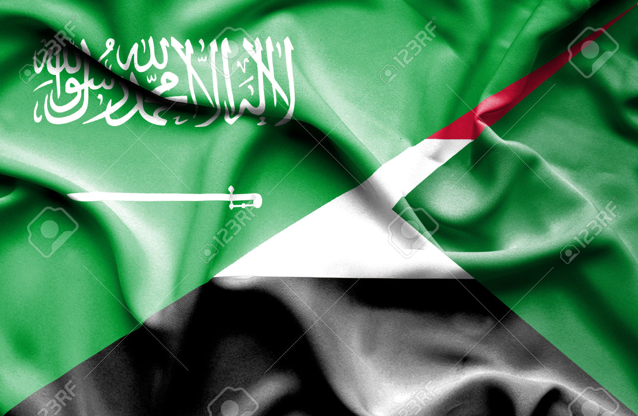 Waving flag of Sudan and Saudi Arabia
