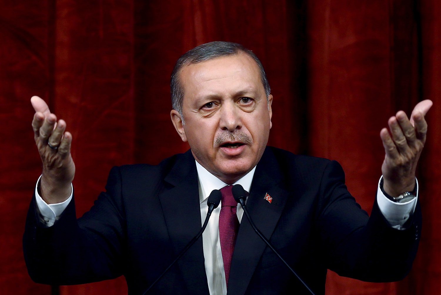 Turkey President Recep Tayyip Erdogan delivers a speech commenting on those killed and wounded during a failed July 15 military coup, in Ankara, Turkey, late Friday, July 29, 2016.  The government crackdown in the coup's aftermath has strained Turkey's ties with key allies including the United States. (AP Photo/Kayhan Ozer Presidential Press Service, via AP Pool)