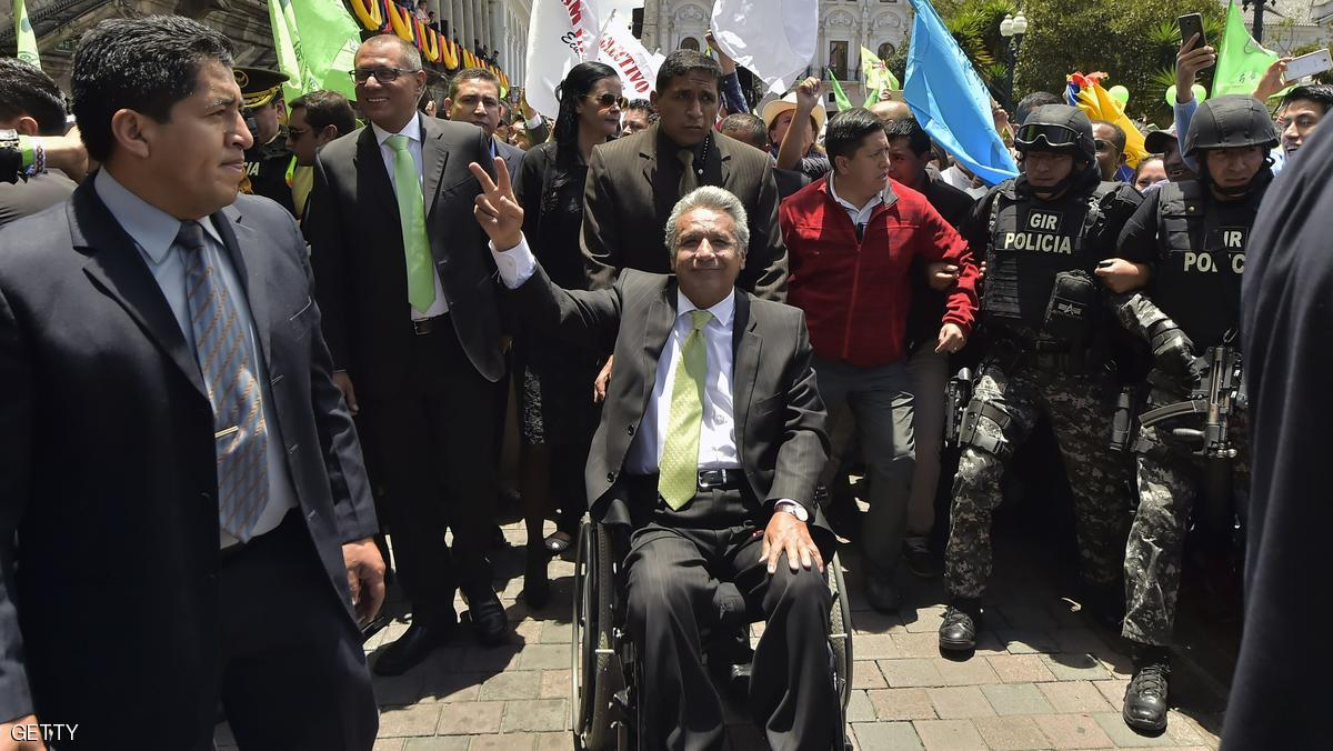 Ecuador's President elect Lenin Moreno greets supporters at the Plaza Grande next to the Carondelet presidential palace, in Quito on April 3, 2017. Socialist Lenin Moreno on Monday celebrated victory in his bid to extend a decade of leftist rule in Ecuador but faced allegations of voting fraud from his conservative rival. Victory for the 64-year-old Moreno, a wheelchair user and political champion of disability rights, would be good news for the Latin American left, which is in decline.  / AFP PHOTO / RODRIGO BUENDIA        (Photo credit should read RODRIGO BUENDIA/AFP/Getty Images)