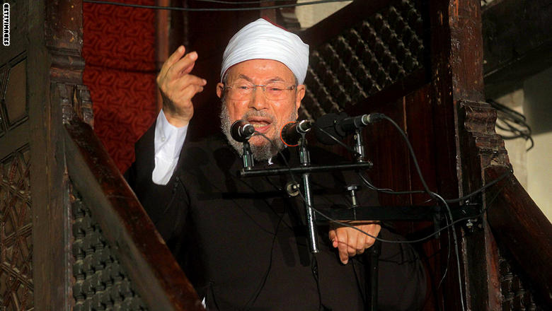 Egyptian Muslim scholar Sheikh Yusuf al-Qaradawi addresses Muslims at Al-Azhar mosque during the weekly Friday prayer in Cairo on November 16, 2012. Several thousand people demonstrated outside the Al-Azhar mosque to protest against the Israeli campaign, which has killed 23 Palestinians. AFP PHOTO / STR        (Photo credit should read -/AFP/Getty Images)