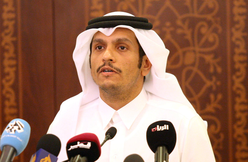 FILE PHOTO: Qatar's Foreign Minister Sheikh Mohammed bin Abdulrahman al-Thani attends a news conference in Doha, Qatar, May 25, 2017. REUTERS/Naseem Zeitoon/File Photo
