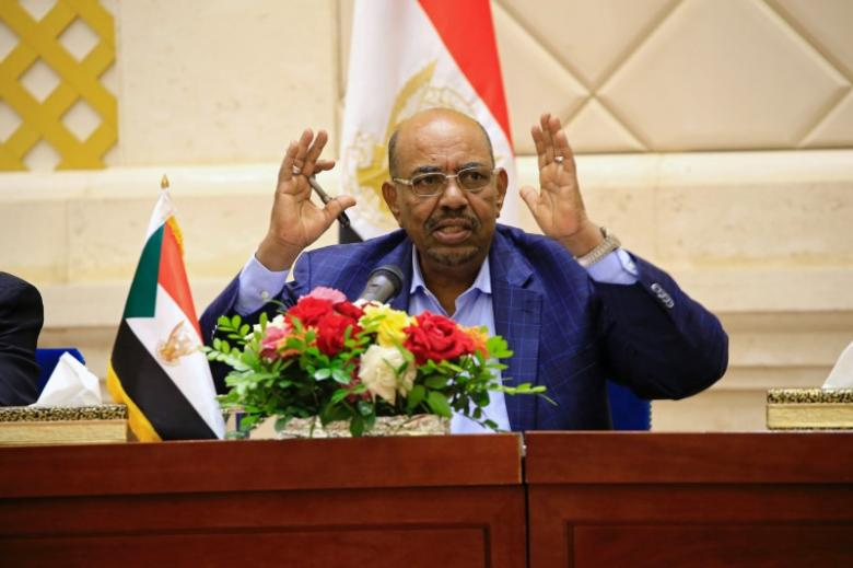 FILE PHOTO: Sudan's President Omar Hassan al-Bashir speaks during a press conference after the oath of the prime minister and first vice president Bakri Hassan Saleh at the palace in Khartoum, Sudan March 2, 2017. REUTERS/Mohamed Nureldin Abdallah/File Photo